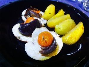 Fesa di tacchino con carote, cipolla e patate 2